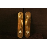 Pair Polished Brass Pull Handles