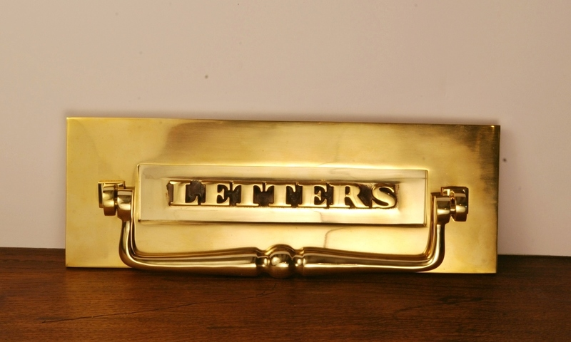 Traditional Nickel Letter Plate Letterbox With Clapper Pull Knocker  Warwick Rec